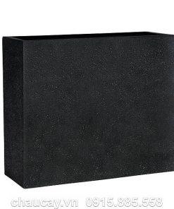 Chậu cây composite vân đá đen chữ nhật cao