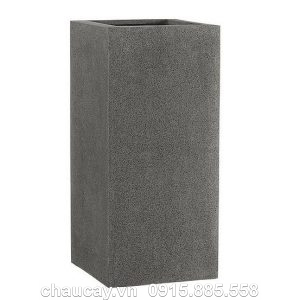 Chậu nhựa Composite Esteras WEERT vân đá màu xám đen