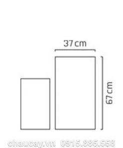 Chậu cây nhựa composite Esteras Dundee trụ vuông cao