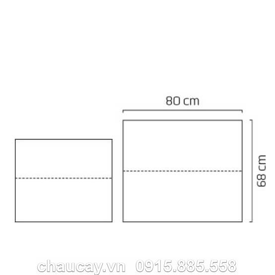 Chậu Nhựa Composite Cao Cấp Esteras Bronley Chữ Nhật Cao