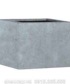 Chậu hoa composite Esteras Lincoln vuông thấp màu chì