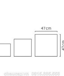 Chậu Hoa Composite Esteras Lisburn Vuông Thấp Đẹp