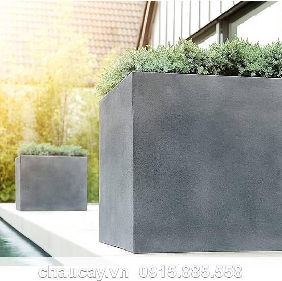 Chậu Hoa Nhựa Composite Esteras Lisburn Màu Chì Cao Cấp