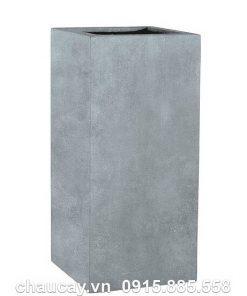 Chậu nhựa composite Esteras Wells trụ vuông màu chì